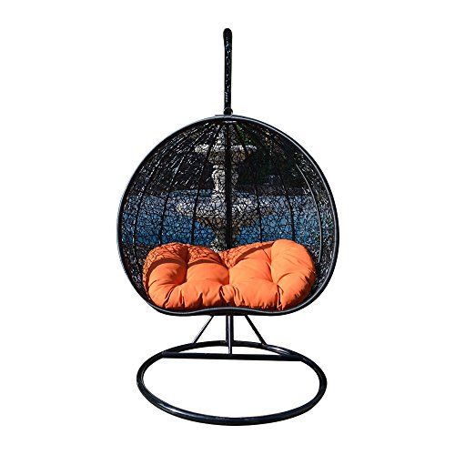 Egg Nest Shaped Wicker Rattan Swing Chair Hanging Hammock 2 Persons Seater – Black Orange