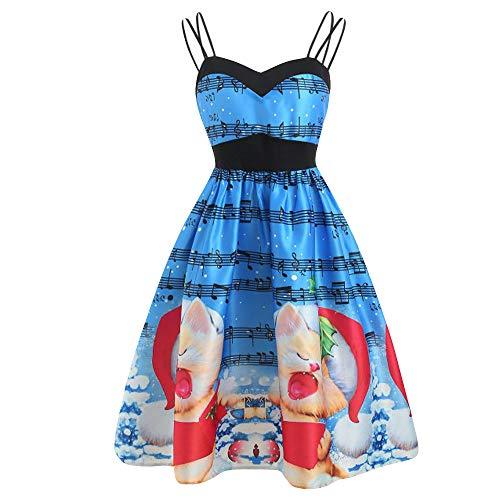FEDULK Christmas Womens Vintage 1920s Dress Sleeveless Cat Print Flared Evening Swing Dress(Blue, US Size M = Tag -