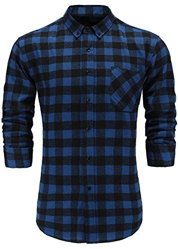- Emiqude Men's 100% Cotton Slim Fit Flannel Long Sleeve Plaid Button Down Dress Shirts Small Black Blue
