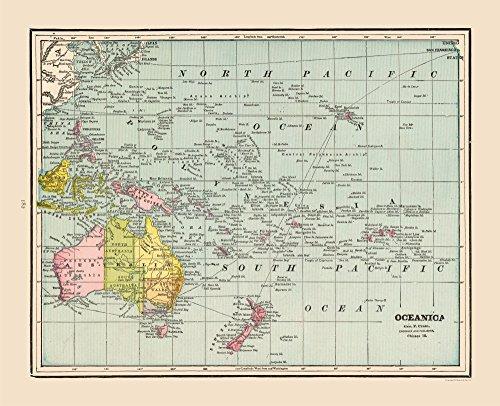 MAPS OF THE PAST International Map - Oceanica - Cram 1892-28.34 x 23 - Matte Art Paper
