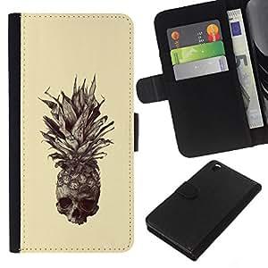 KLONGSHOP // Tirón de la caja Cartera de cuero con ranuras para tarjetas - Cráneo Piña - HTC DESIRE 816 //