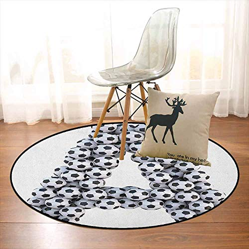 Letter A Regional Round Carpet Realistic Soccer Balls in Form of Capital A Sports Play League Competition Theme Non-Slip Easy to Clean D35.4 Inch Black White ()