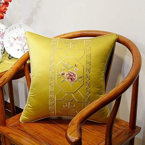 New Chinese Embroidery and Chinoiserie Bedside Classic Pillow Lumbar Cushion Lumbar With Core Removable Mahogany Sofa Cushions 45 x 45cm(cover + pillow) Golden (Microfiber Classic Sofa)