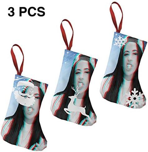 クリスマスの日の靴下 (ソックス3個)クリスマスデコレーションソックス カミラ カベロCamila Cabello クリスマス、ハロウィン 家庭用、ショッピングモール用、お祝いの雰囲気を加える 人気を高める、販売、プロモーション、年次式