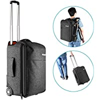 Neewer Convertible Rolling Camera Backpack Trolley Case with Side Handle- Anti-shock Detachable Padded Compartment, Hidden Pull Bar, Durable, Waterproof for Camera,Tripod,Flash Light,Lens,Laptop