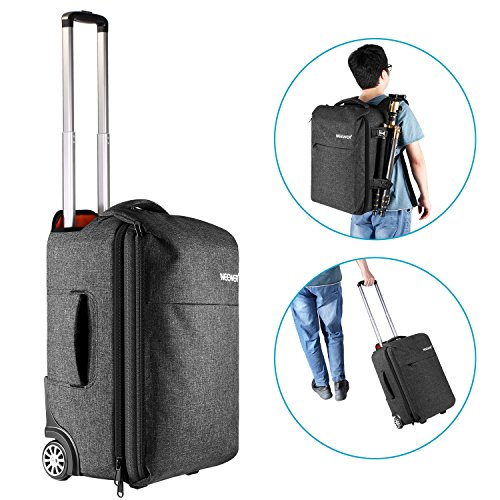 (Neewer Convertible Rolling Camera Backpack Trolley Case with Side Handle- Anti-shock Detachable Padded Compartment, Hidden Pull Bar, Durable, Waterproof for Camera,Tripod,Flash Light,Lens,Laptop)