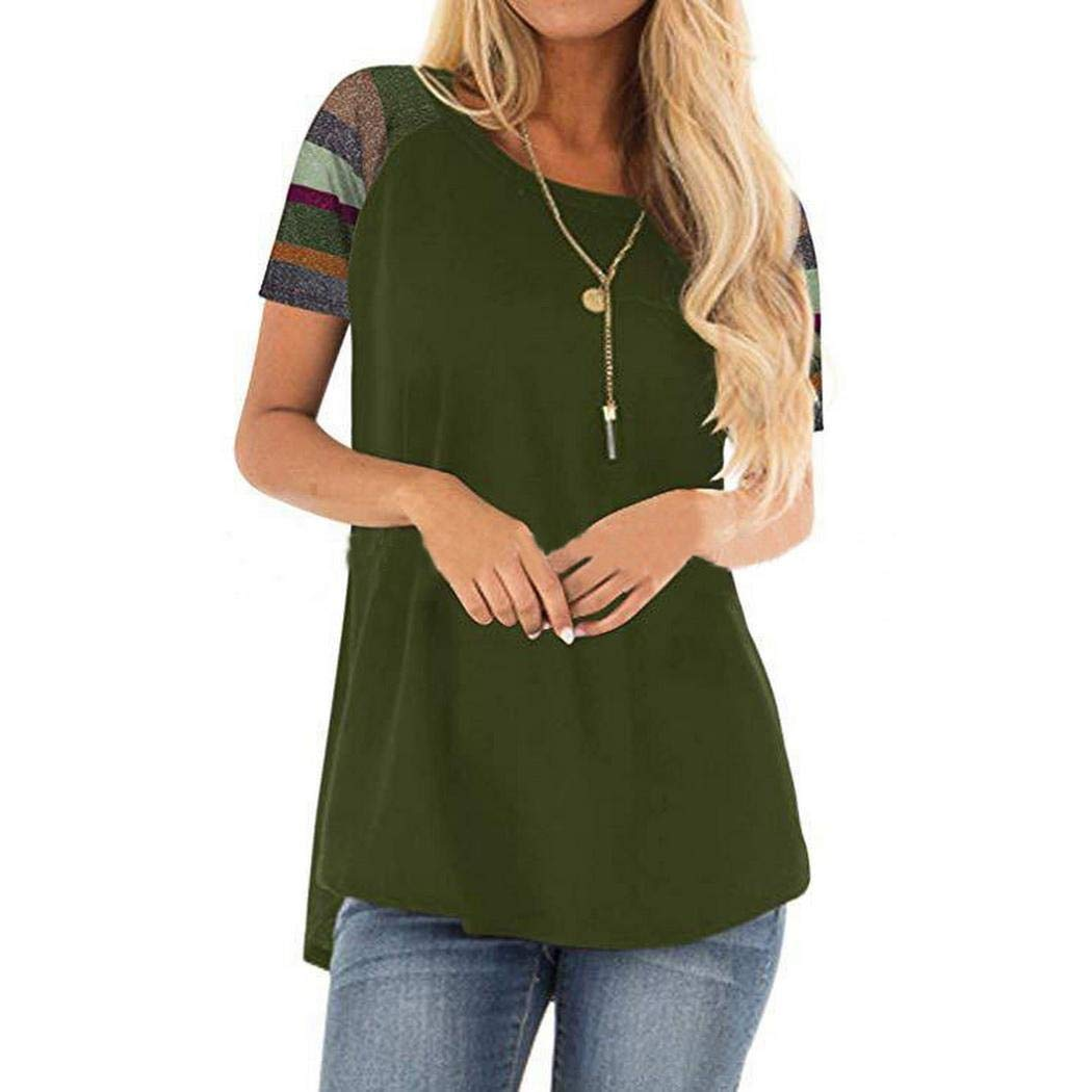 gaderw Women Summer Casual T-Shirt Patchwork O-Neck Short Sleeve Loose Tops Knits /& Tees