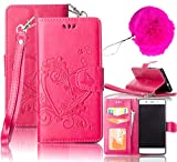 LG K7 Case,LG Tribute 5 Case,Vandot Premium Emboss Flower Heart PU Leather Wallet Case Flip Folio Stand Magnetic Cover Skin For LG K7/LG Tribute 5 with Wrist Strap+Fashion Pompon Ball-Rose Red