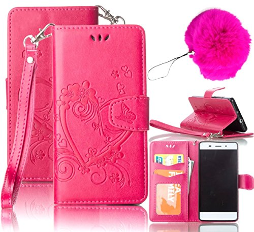 LG K7 Case,LG Tribute 5 Case,Vandot Premium Emboss Flower Heart PU Leather Wallet Case Flip Folio Stand Magnetic Cover Skin For LG K7/LG Tribute 5 with Wrist Strap+Fashion Pompon Ball-Rose Red For Sale