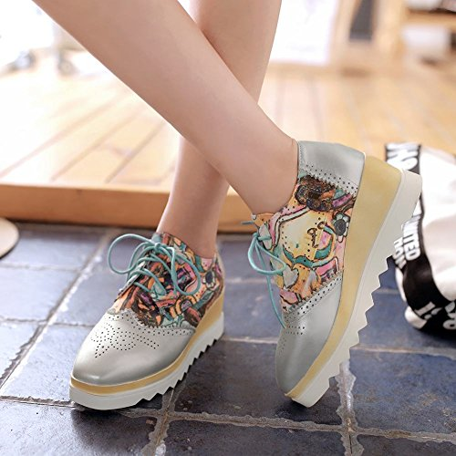 Up Shoes Heel Printed Silver Oxfords Platform Wedge Toe Square Carolbar Women's Lace vRTqw4x1E7