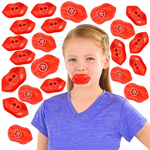 Red Lip Siren Whistles Bulk Pack of 144 Pcs Plastic Whistle Toy Great Noisemaker Birthday Party Favors for Kids Boys and Girls- By 4E's -