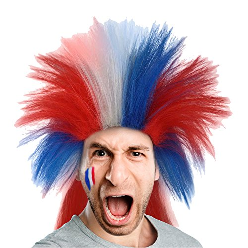 Crazy Football Fan Halloween Costume (80s Punk Rocker Wig US French Flag Style Patriotic Mullet Hairpiece for Cosplay Costume)