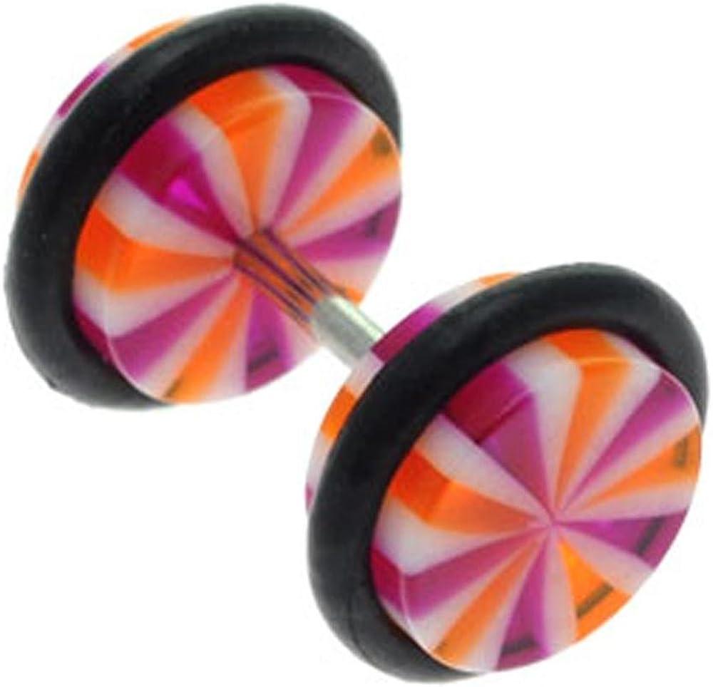 Red Orange Wheel BodyJewelleryShop Fake Flesh Plug