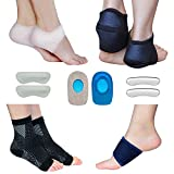 Plantar Fasciitis Foot Sleeve Kit -Compression Foot Socks, Arch Support, Therapy Wraps, Shock Absorbing Sleeve, Heel Cushions, Heel Grips- (Pack of 14) for Instant Foot Pain Relief by Blisstime