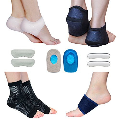Plantar Fasciitis Foot Sleeve Kit -Compression Foot Socks, Arch Support, Therapy Wraps, Shock Absorbing Sleeve, Heel Cushions, Heel Grips- (Pack of 14) for Instant Foot Pain Relief by -