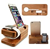 Bamboo Dock Station Charger Stand Holder For Apple Watch iWatch / iWatch 2 / iPhone 5 / 5S / 5C / SE / 6 / 6 Plus / 6S / 6S Plus / 7 / 7 Plus (AW0001)