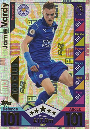 Topps Match Attax 2016/2017 Jamie Vardy Hundred 100 Club 16/17 Trading Card