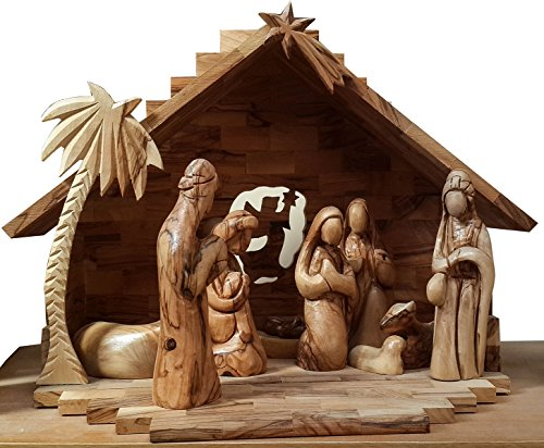 Nativity Scene Olive Wood Hand Carved Faceless Figurines Bethlehem Set 14.4'' by Nazareth Market Store