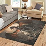 Gogogosky Home Decorate Floor Custom Rectangle War With The Dragon On Castle Area Rug Floor Rug Room Carpets 7'x5′ For Sale