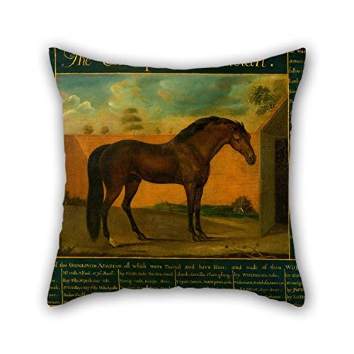 TonyLegner 20 X 20 Inches / 50 by 50 cm Oil Painting Daniel Quigley - The Godolphin Arabian Cushion Covers Twin Sides Ornament and Gift to Study Room Girls Dining Room Bar Bedroom Floor (Striped Bar Zebra Stools)