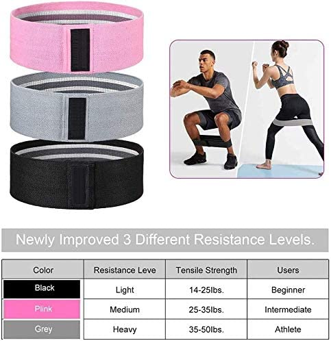 Non Slip Hip Exercise 3 Levels Workout Bands Thigh Squat Bands Set for Women Home Gym Workout Set Resistance Bands for Legs and Butt OYINDIZ Booty Bands