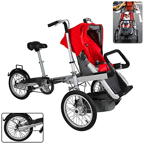 Folding Bike Stroller 6 Month to 5 Years Old Stroller Bike 3 in 1 Mom Bicycle