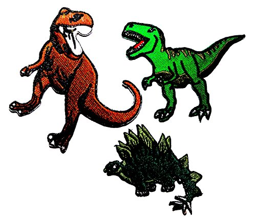 PP patch Set 3 Brown T Rex Dinosaur Animal , greenT Rex Dinosaur Animal , Dinosaur Brachiosaurus Animal DIY Applique Embroidery Iron on - Tracking Mail Usps Global