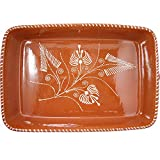 Vintage Portuguese Traditional Clay Terracotta Pottery Roasting Tray Made In Portugal (N.4 17 3/4 x 12 x 3 3/8'' Inches)
