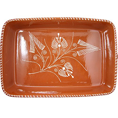 Vintage Portuguese Traditional Clay Terracotta Pottery Roasting Tray Made In Portugal (N.4 17 3/4 x 12 x 3 3/8'' Inches) by Ceramica Edgar Pinto