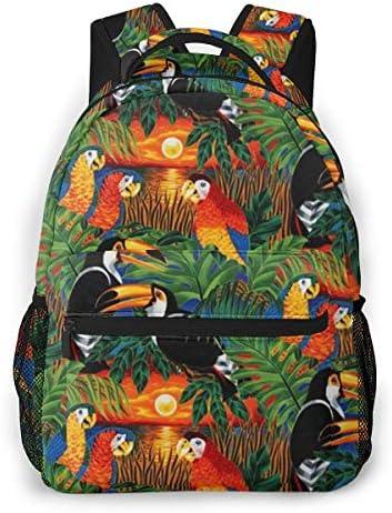 カラフルな熱帯鳥のオウム バックパック リュック メンズ レディース 学生 男女兼用 防水 アウトドア カジュアル デイパック 多機能 収納 通勤 通学