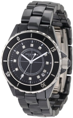 Akribos XXIV Women's AKR484BK Allura Black Ceramic Watch