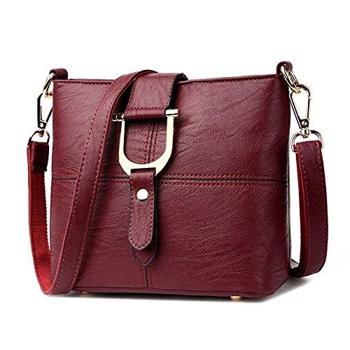 DHFUD Ladies Fashion Bucket Bag Bolso Simple Del Bolso De Hombro Burgundy