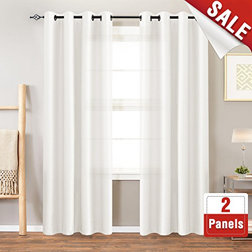 Faux Silk White Curtains 84 inch Bedroom Living Room for sale  Delivered anywhere in USA