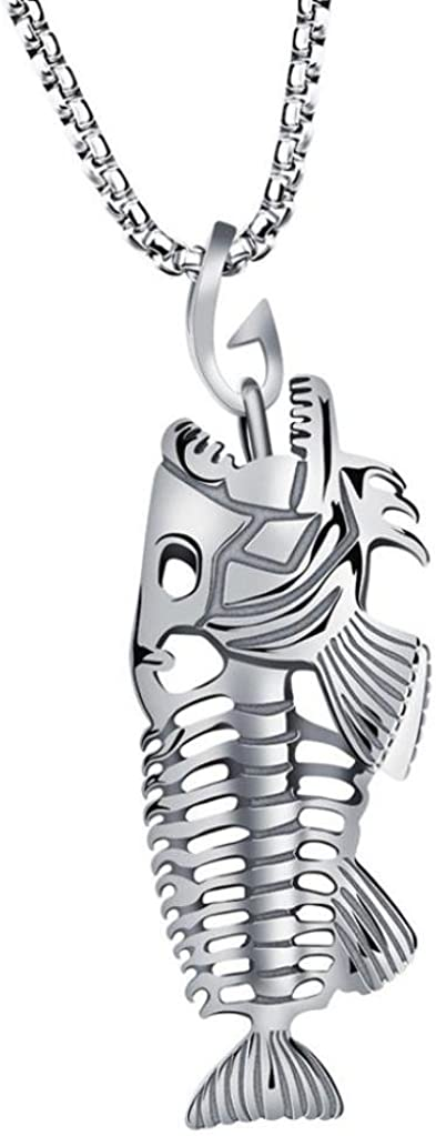 sameno New Man Fish Bone & Fishing Hook Skeleton Stainless Steel Pendant Surfer Chain Necklace