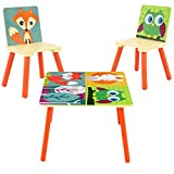 C/Y Kids Table & Chairs Play Set Toddler Activity Furniture W/Cartoon Animals Pattern
