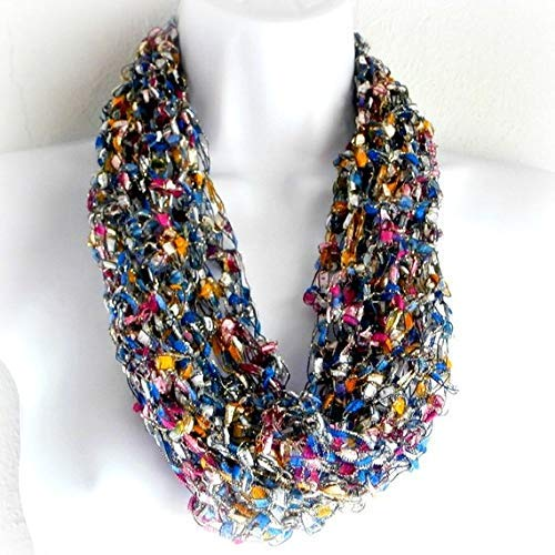 (Handmade Infinity Scarf, Necklace Scarf Infinity Scarf, Loop Scarf Light weight Scarf, Multicolored Cowl, Fiber Jewelry Single Loop Fashion accessory Made in the USA)
