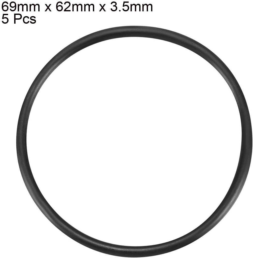 uxcell Nitrile Rubber O-Rings 69mm OD 62mm ID 3.5mm Width Metric Buna-N Sealing Gasket Pack of 5