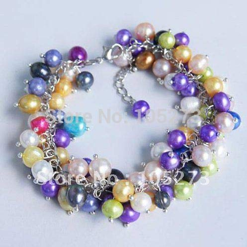 (Gabcus Stunning!AA 6-8MM White Blue Green Yellow Purple Black Mixes Color Natural Freshwater Pearl Bracelet 7.5'inchs Wholesale FN2172)