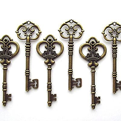 Makhry Mixed Set of 20 Extra Large Antique Bronze Finish Skeleton Keys in Antique Style - Set of 20 Keys