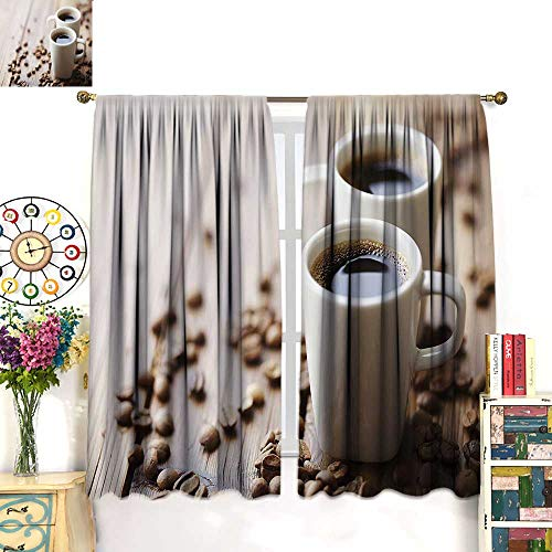 (WinfreyDecor Coffee Drapes for Living Room Espresso in Cups on Wooden Table with Beans Hot Drink for Romantic CouplesBlackout curtainCocoa Brown White. W72 x)