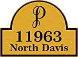 Monogram Address Plaque - House Number Sign with Large One Letter Monogram at Top - Comfort House # P2617