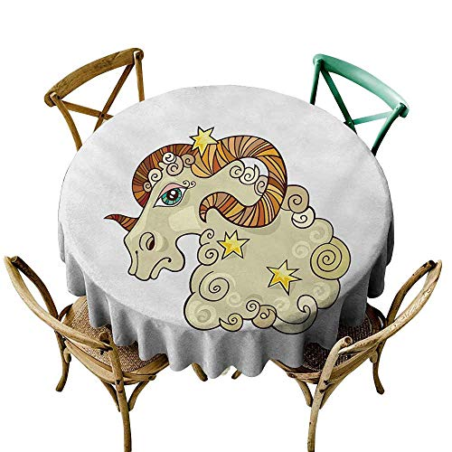 SKDSArts Table Cover Tablecloth Zodiac Aries,Cartoon Comic Style Ram Animal Fluffy Funny Cosmic Character with Yellow Stars,Multicolor D65,for Cards ()