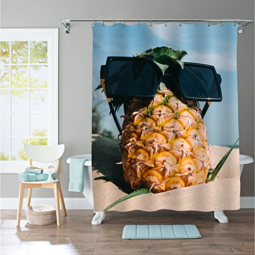 Funny Summer Coastal Shower Curtain Pineapple with Sunglasses Enjoy Sunbathe on the Beach, Funny Gifts for Men Women and Baby Kids, Yellow - Sunglasses Off 75