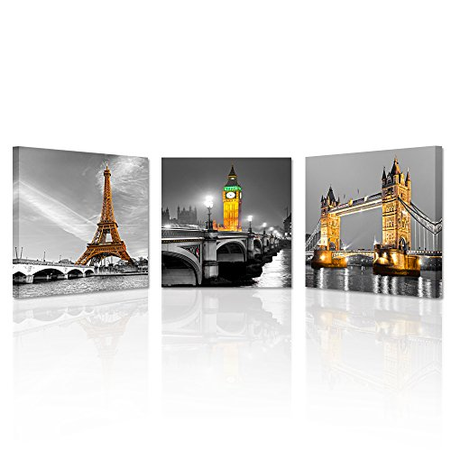 Kreative Arts - 3 Panel Paris Effiel Tower Canvas Painting Picture City Building London Bridge Big Ben Landscape Wall Art Modern Printing Ready to Hang (16x16inchx3pcs)