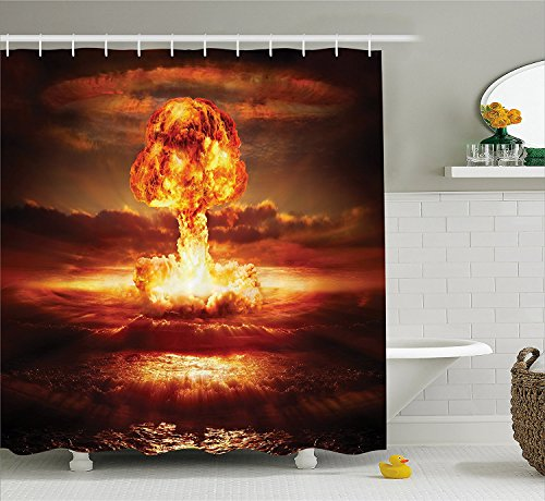 [War Home Decor Shower Curtain Nuclear Bomb in the Ocean Fusion Radioactive Weapon Apocalypse Illustration Fabric Bathroom Decor Set with Hooks Red] (Radioactive Zombie Costume)