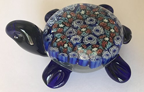 (Multi-Colored Hand Blown Glass Turtle Paperweight - 4 Inches)