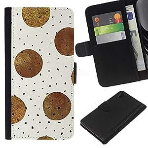 Sony Xperia Z4 / Sony Xperia Z4V / E6508 Modelo colorido cuero carpeta tirón caso cubierta piel Holster Funda protección - Brown Black Polka Dot Pattern Beige