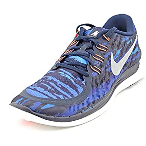 Nike Free 5.0 Print Men Round Toe Synthetic Blue Running Shoe
