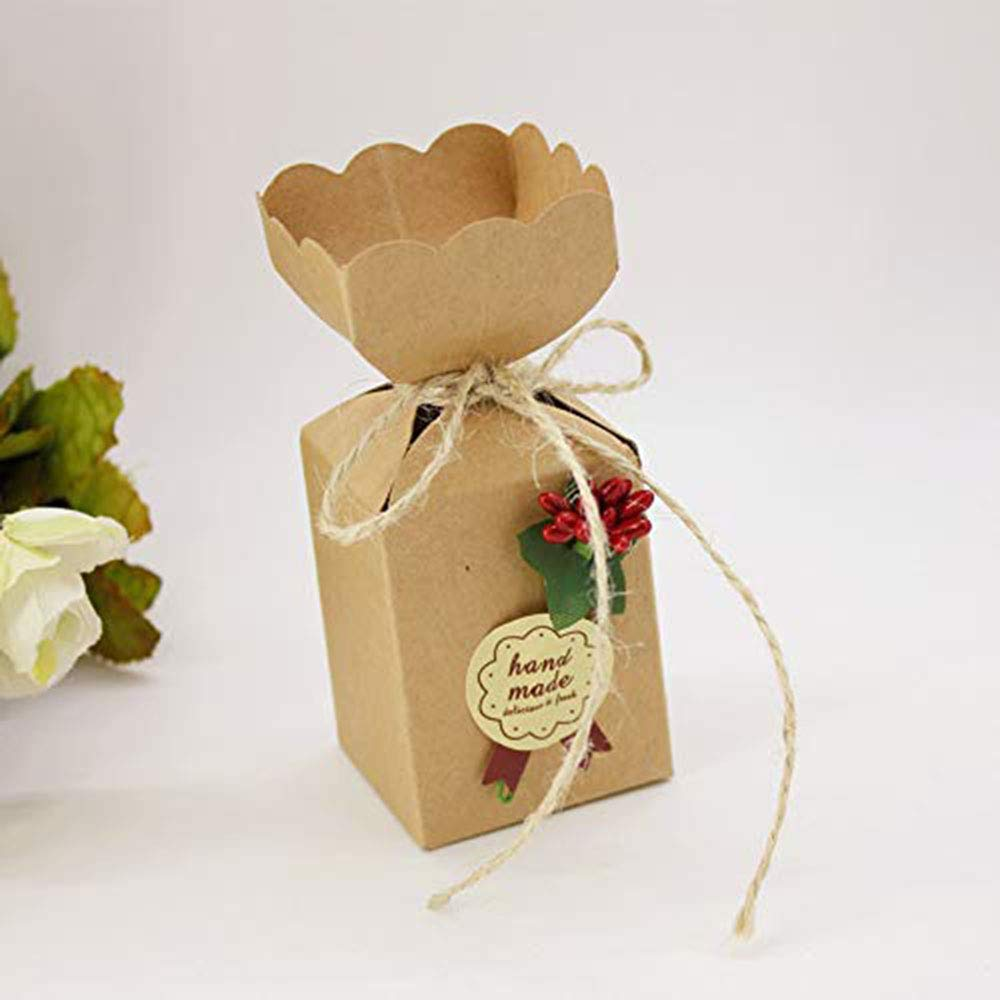 Kingsley 50pz Vaso Marrone Scatola Portaconfetti Shabby Scatolina Bomboniera Segnaposto per Rustico Matrimonio Compleanno Natale Laurea Nascita Battesimo