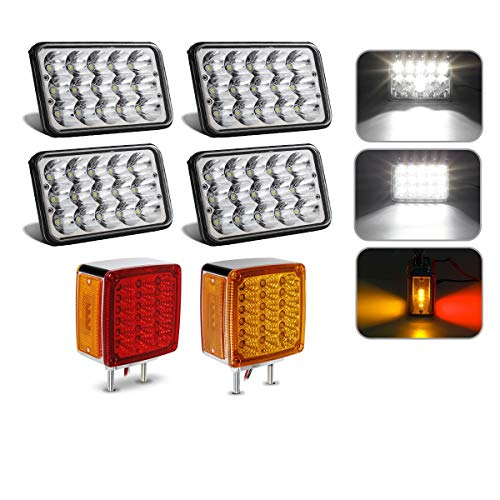 (2PCS Square Double Face Stop Turn Signal Tail Light Amber/Red 52 LED Truck Trailer + 4PCS 4x6 inch LED Headlight Sealed Dual Hi/Lo Beam Compatible with Peterbilt 357 379 378, Kenworth T800 W900 FLD)